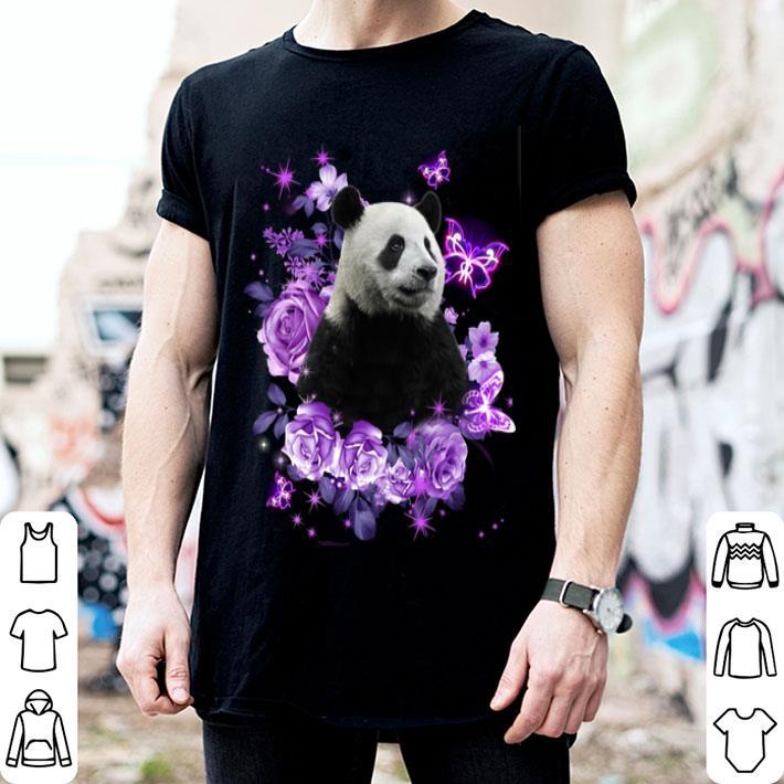 Panda purple flowers shirt
