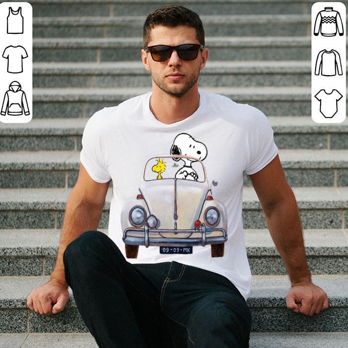 - Snoopy and woodstock driving Volkswagen Beetle shirt