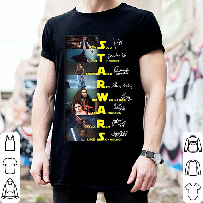 Star Wars Characters Han Solo Darth Vader Chewbacca Signatures shirt