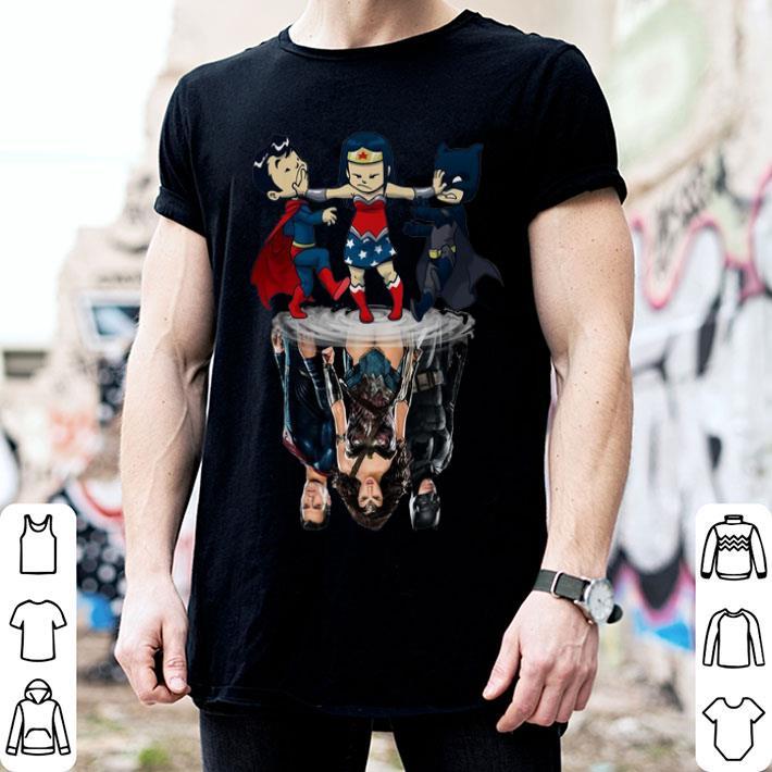 - Superman Wonder Woman Batman reflection water mirror shirt