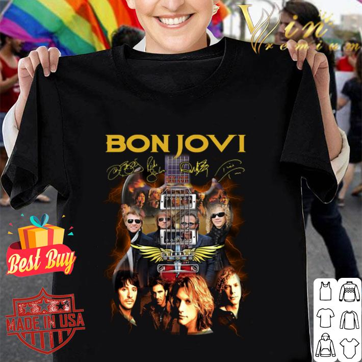 Bon Jovi band signatures guitarist shirt