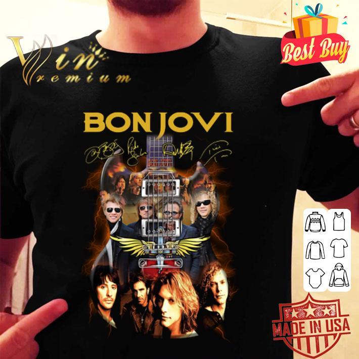 - Bon Jovi band signatures guitarist shirt