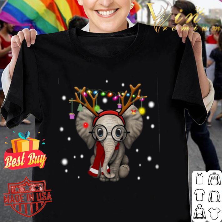 - Elephant reindeer merry and bright Christmas shirt