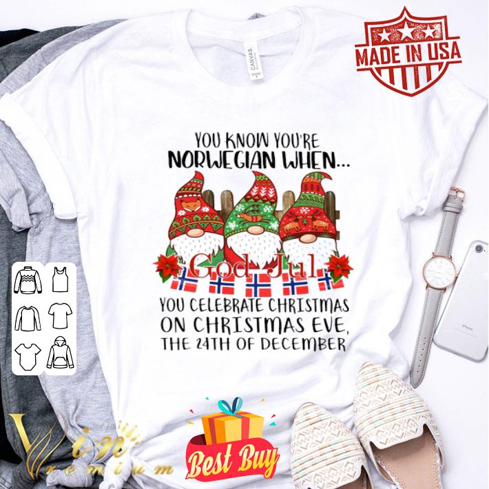 - Gnome You know you're Norwegian God Jul Christmas 24th december shirt