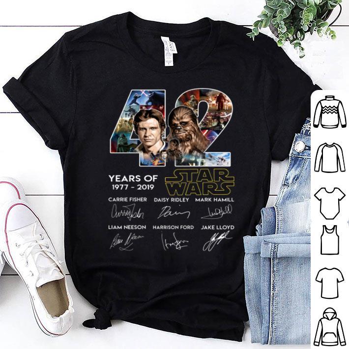 - Han Solo Chewbacca 42 years of 1977 2019 Star Wars signatures shirt