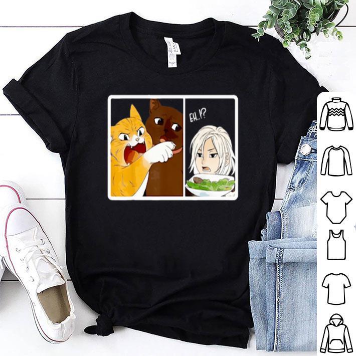 - Madoka Yelling and Garfield woman cat meme shirt
