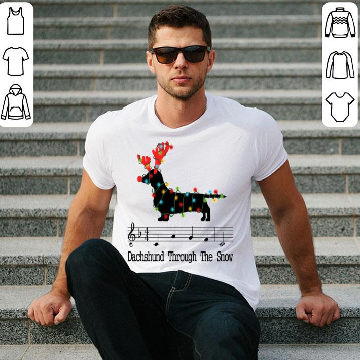 Music note Dachshund through the snow Christmas shirt