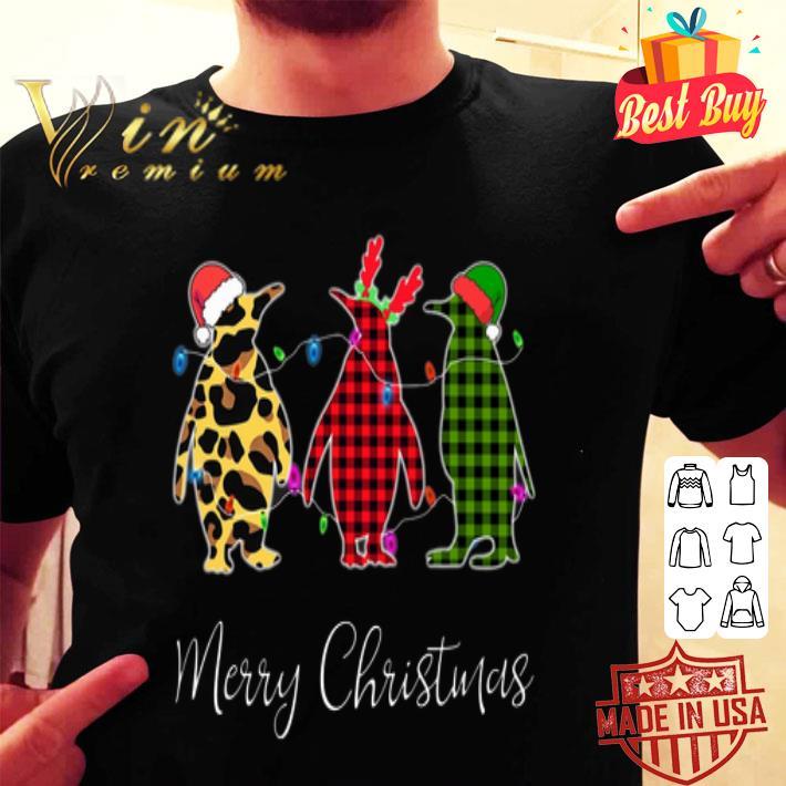 - Penguin Merry Christmas leopard plaid shirt