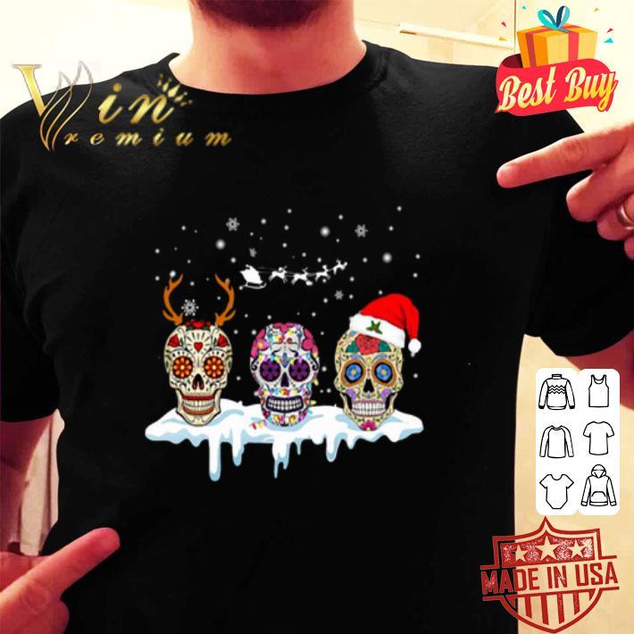 Sugar skulls with Christmas Santa hat reindeer shirt