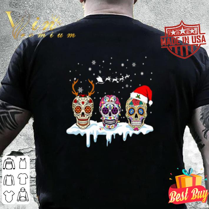 - Sugar skulls with Christmas Santa hat reindeer shirt