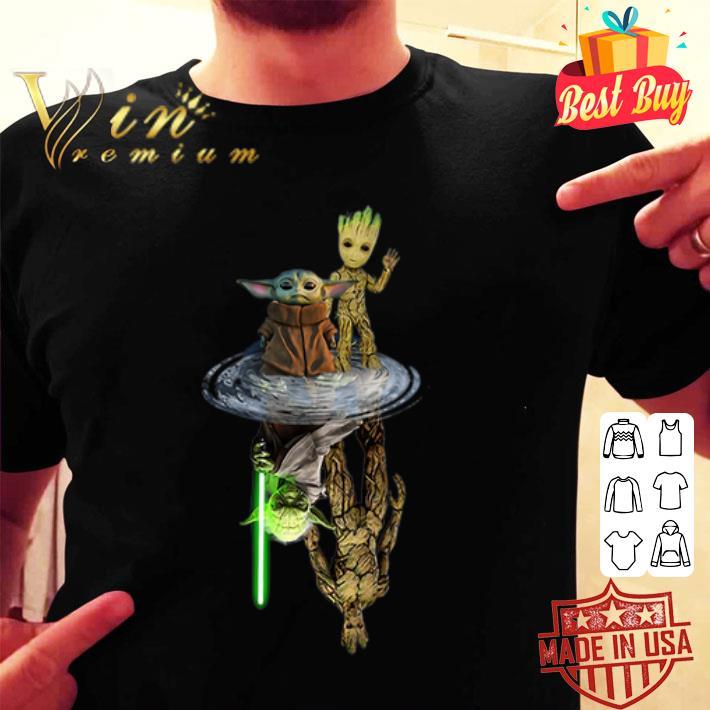 Baby Yoda Groot reflection water Yoda Jedi Master Mandalorian shirt