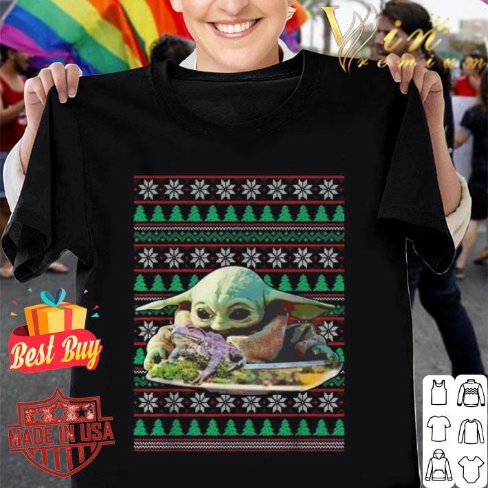 - Baby Yoda eating frog ugly Christmas Star Wars sweater