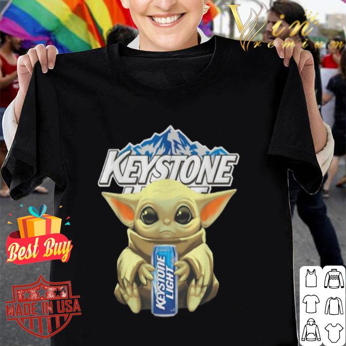 - Baby Yoda hug Keystone Light Star Wars Mandalorian shirt