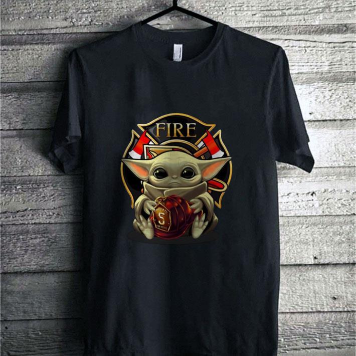 - Baby Yoda hug firefighter captain hat Star Wars shirt