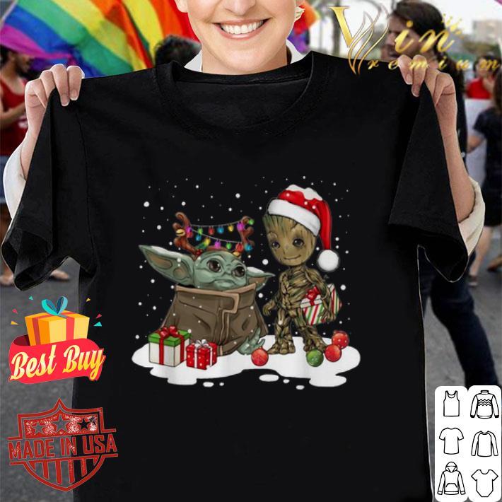 - Baby Yoda reindeer and Baby Groot santa Christmas shirt