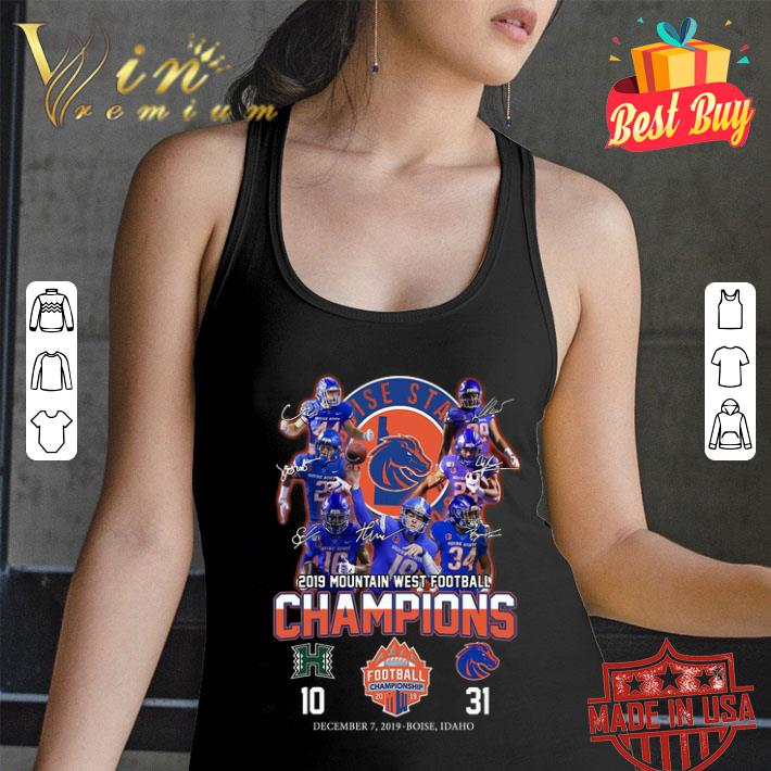 - Boise State Broncos signed 2019 Mountain West Football Champions shirt