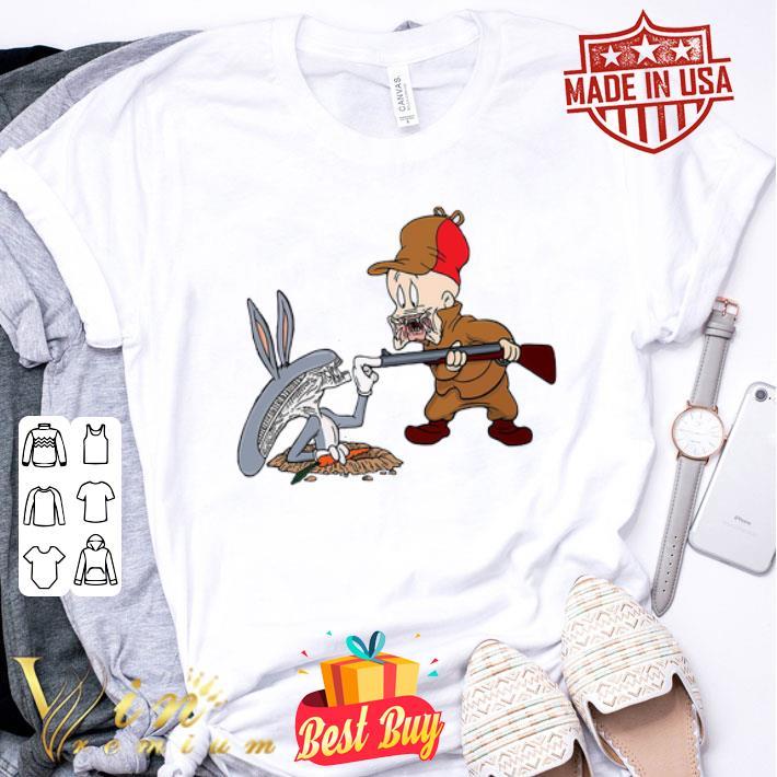 - Looney Tunes Alien Predator Bugs Bunny Elmer Fudd shirt