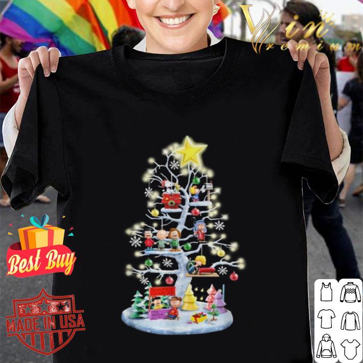 - Peanuts characters Christmas tree Snoopy Charlie Brown shirt