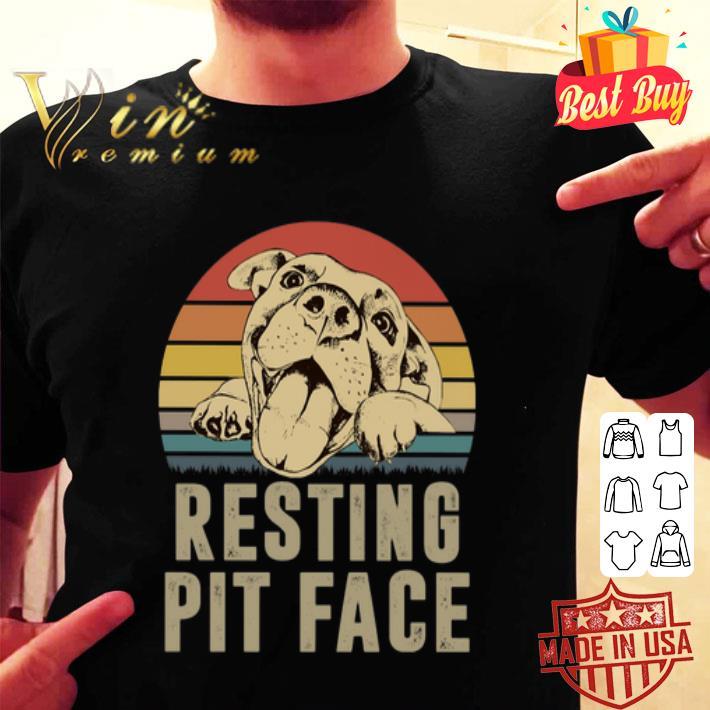 - Pitbull resting pit face vintage sunset shirt