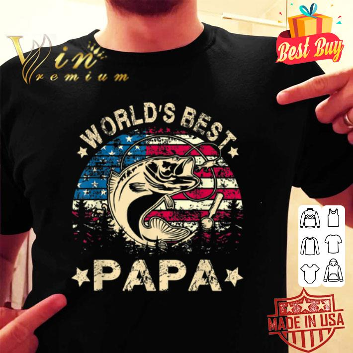 - World's Best Fishing Papa American Flag shirt