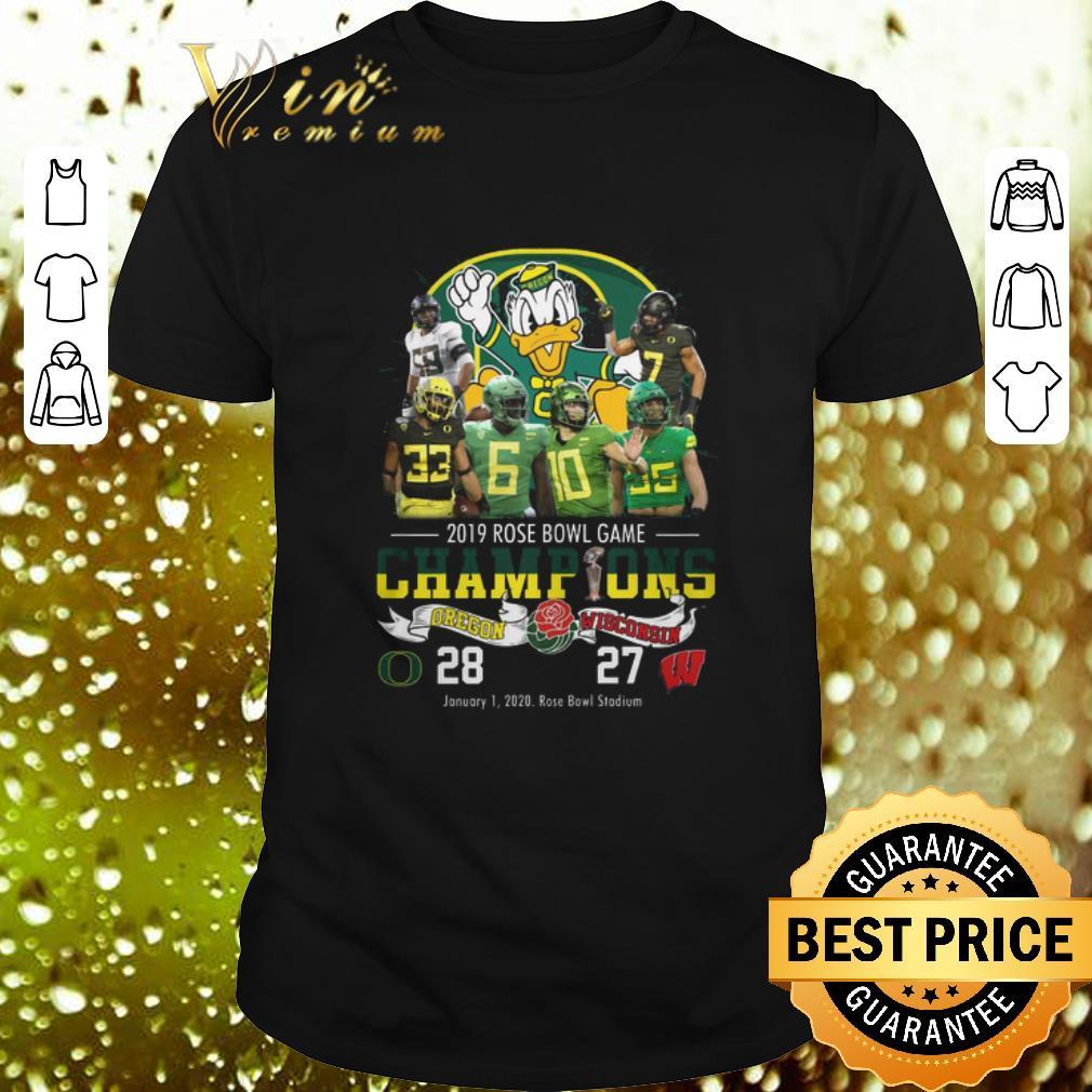 - 2019 Rose Bowl Game Champions Oregon Ducks vs Wisconsin 28 27 shirt