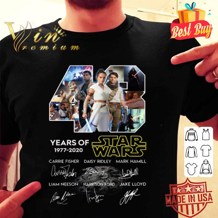 - 43 years of Star Wars 1977 2020 The Rise of Skywalker all signed shirt