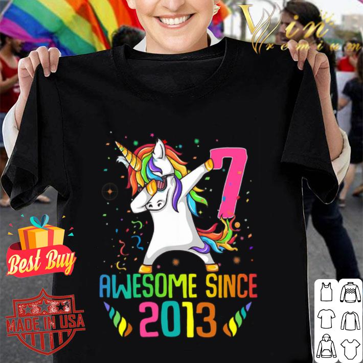 - Awesome Since 2013 7 Years Old 7th Birthday Unicorn Dabbing shirt