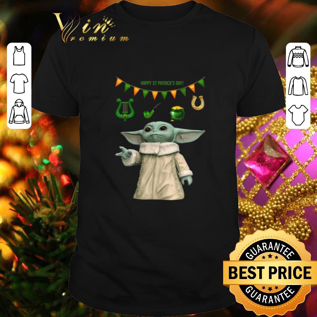 - Baby Yoda Happy St Patrick's Day Star Wars Mandalorian shirt