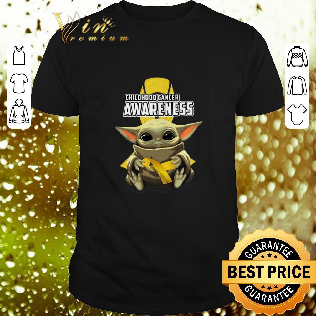 - Baby Yoda Hug Childhood Cancer Awareness Star Wars Mandalorian shirt