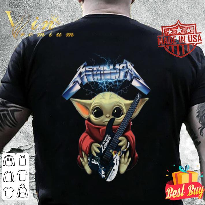 Baby Yoda hug Metallica guitar White Zombie shirt