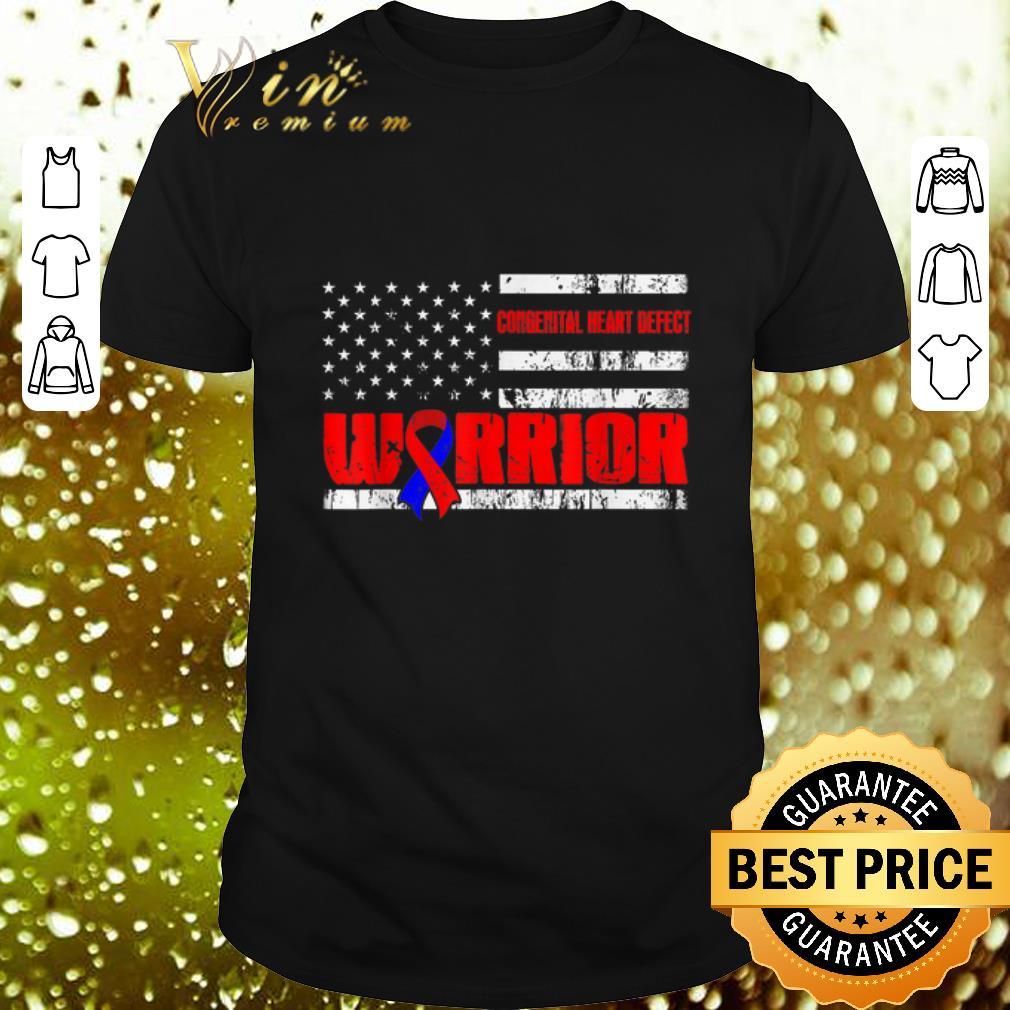 - Congenital Heart Defect Warrior Awareness American flag USA shirt