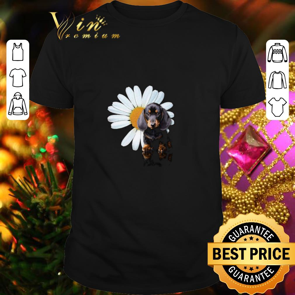 - Dachshund and a Daisy flower white shirt