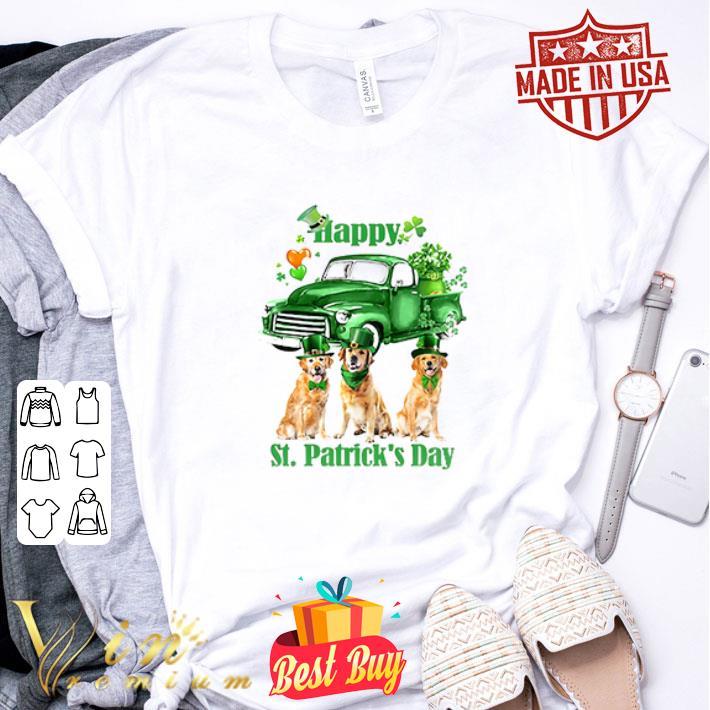 - Golden Retriever Happy St Patrick's Day Four-leaf clover shirt