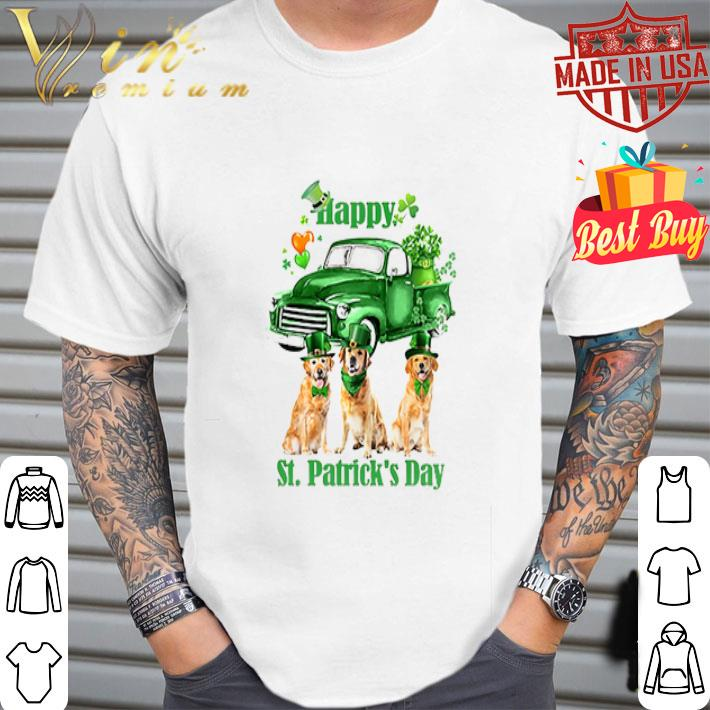 - Golden Retriever Happy St Patrick's Day Four-leaf clover shirt