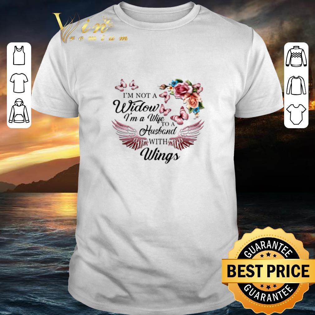 - I'm not a widow i'm a wife to a husband with wings flowers shirt
