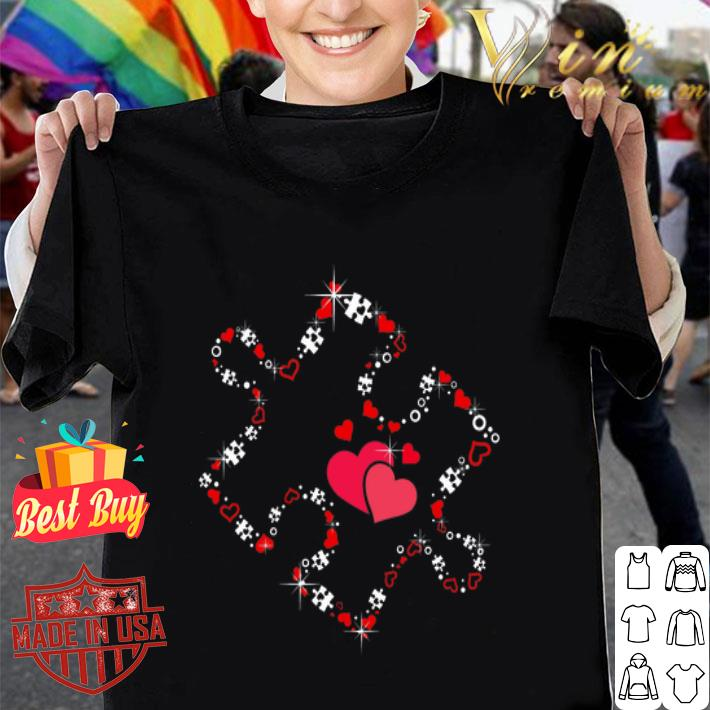- Love Ribbon Heart Puzzle Valentine's day shirt