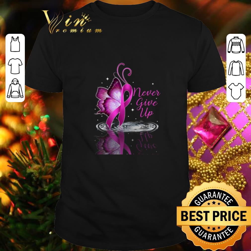Never give up Breast cancer Awareness reflection water mirror shirt 1