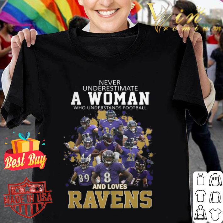 - Never underestimate a woman who understands Baltimore Ravens shirt