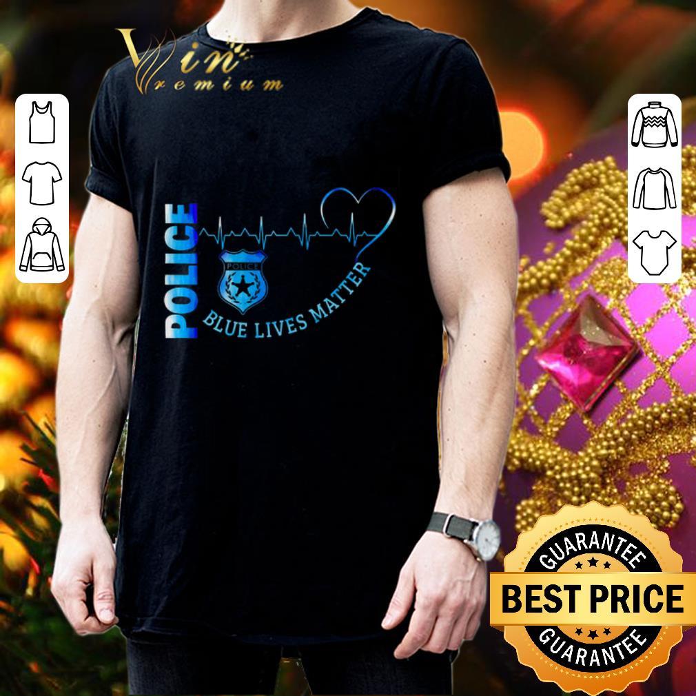 Police Blue Lives Matter Heartbeat shirt 3