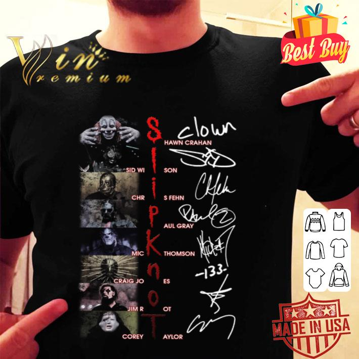- Slipknot SHawn Crahan Sid Wilson Chris Fehn Paul Gray Signatures shirt