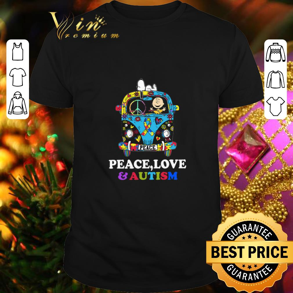 - Snoopy And Charlie Brown Peace Love Autism Awareness Hippie bus shirt