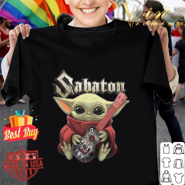 - Star Wars baby Yoda hug Sabaton guitar shirt