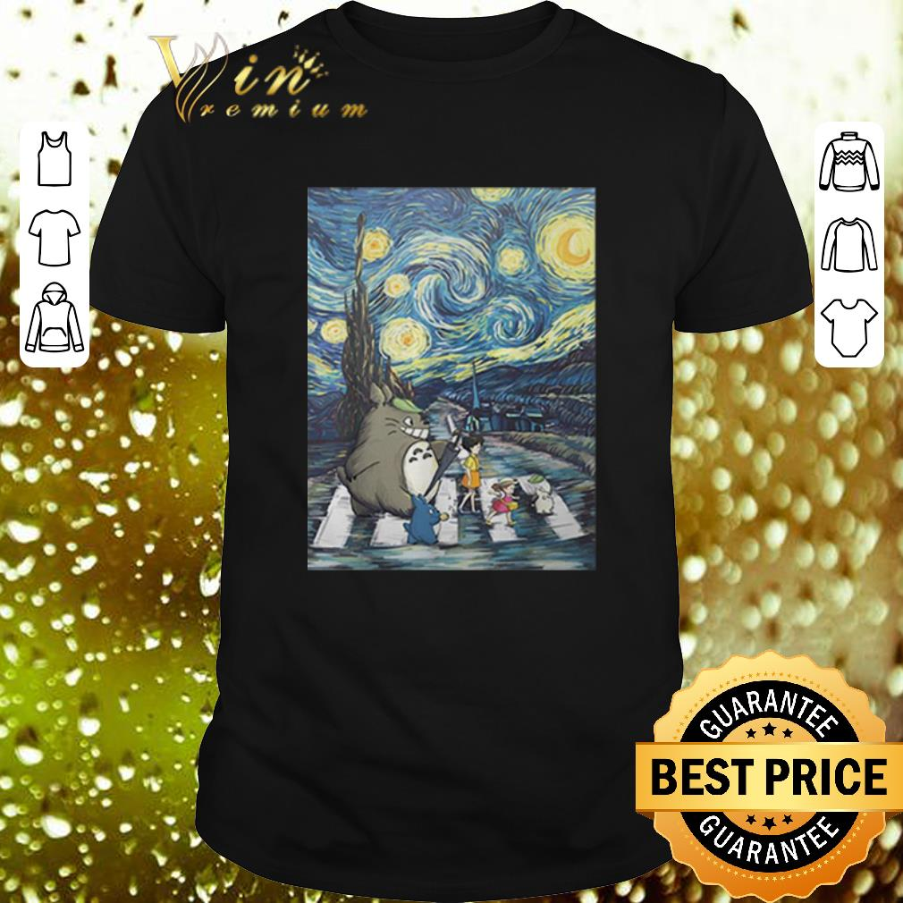 - Studio Ghibli Friends And Starry Night Abbey Road Van Gogh shirt