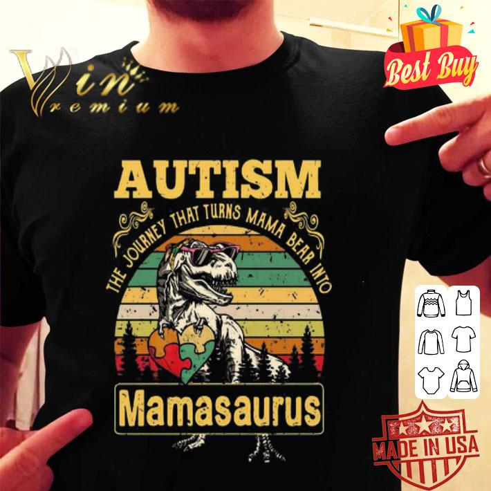 - Autism The Journey That Turns Mama Bear Into Mamasaurus Vintage shirt