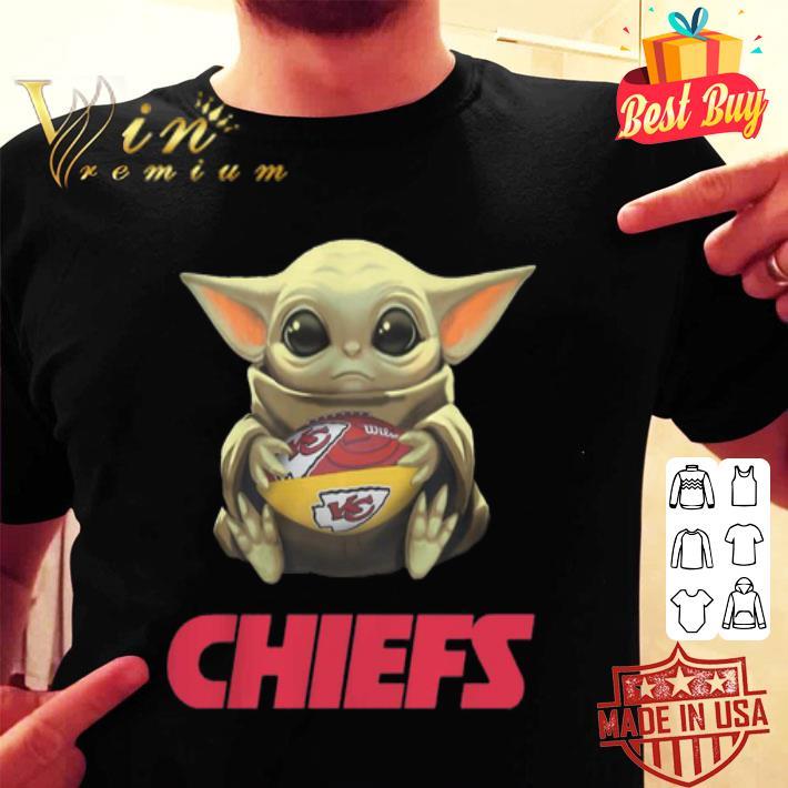 Baby Yoda hug Kansas City Chiefs Logo ball Star Wars shirt