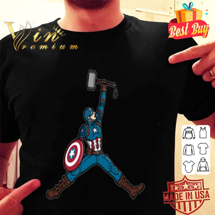 Captain America hold Mjolnir Air Jordan shirt