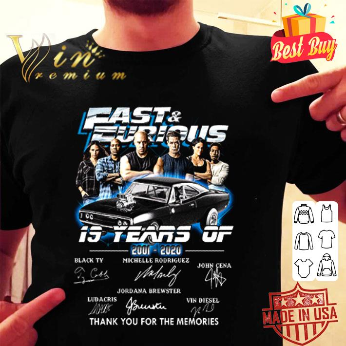 Fast and Furious 2001-2020 thank you for the memories signatures shirt