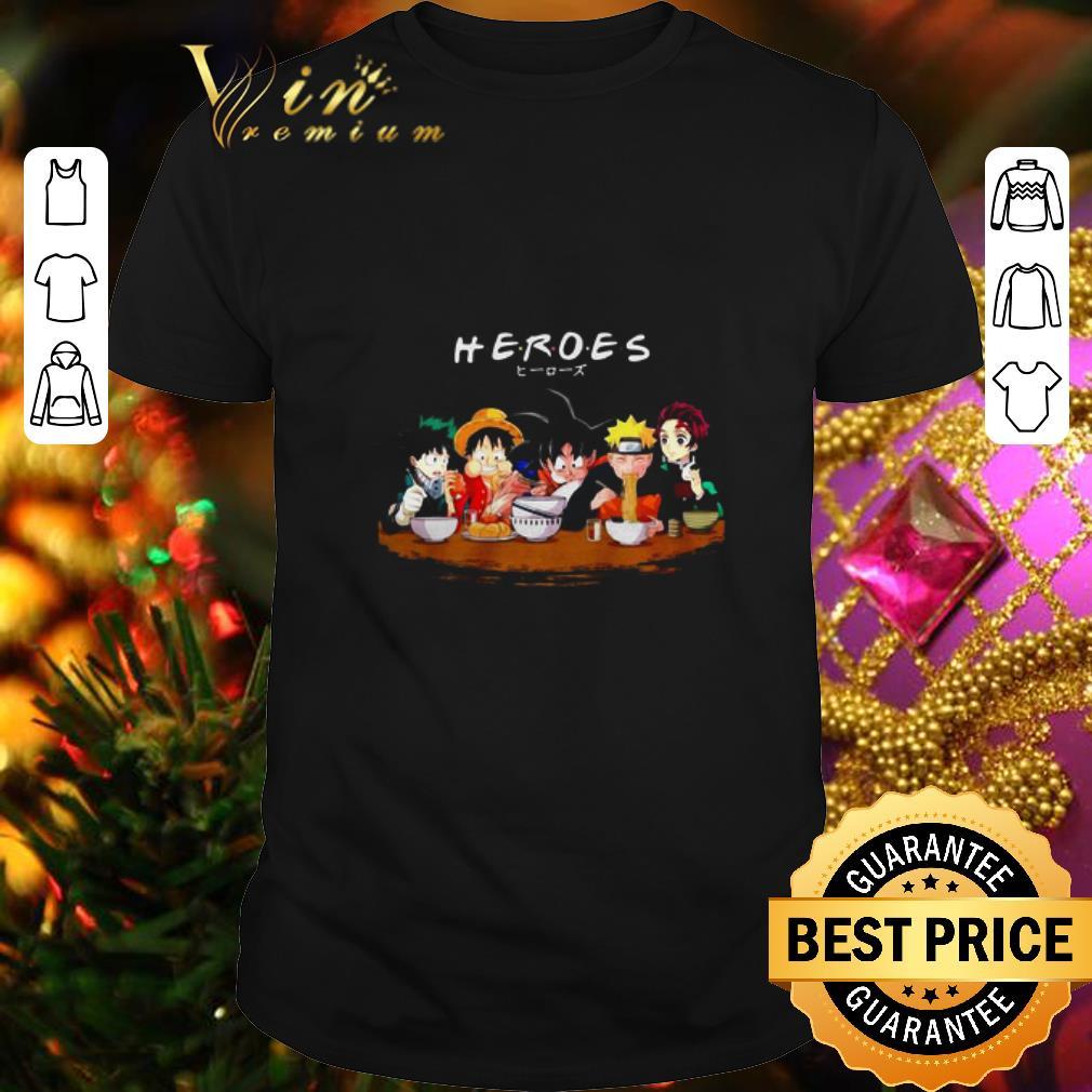 - Mashup Heroes characters Anime eat together shirt