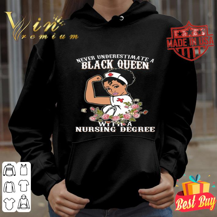 Never underestimate a black queen flowers with a nursing degree shirt