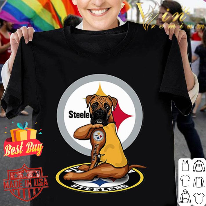 Pitbull tattoo Pittsburgh Steelers shirt